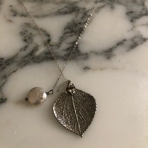 Silver dipped aspen leaf & coin pearl necklace